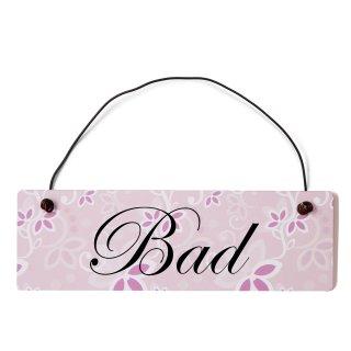 Bad Dekoschild Türschild rosa mit Draht