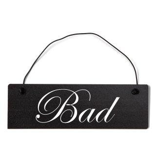 Bad Dekoschild Türschild schwarz mit Draht
