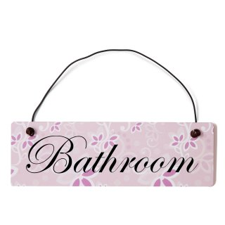 Bathroom Dekoschild Türschild rosa mit Draht