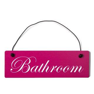 Bathroom Dekoschild Türschild pink mit Draht