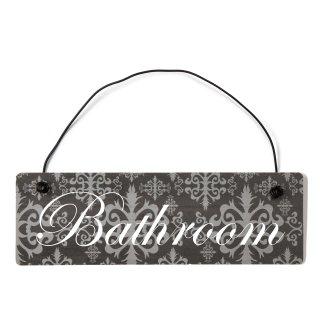 Bathroom Dekoschild Türschild lila mit Draht