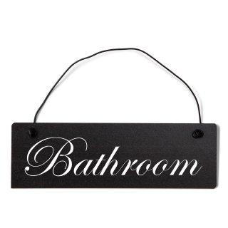 Bathroom Dekoschild Türschild schwarz mit Draht