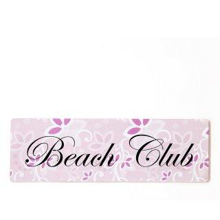 Beach Club Dekoschild Türschild rosa zum kleben