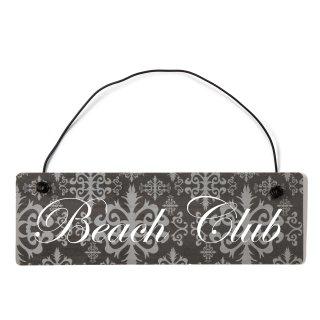 Beach Club Dekoschild Türschild lila mit Draht
