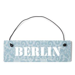 Berlin Dekoschild Türschild blau mit Draht