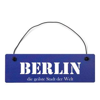 Berlin Dekoschild Türschild hellblau mit Draht
