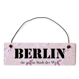 Berlin Dekoschild Türschild rosa mit Draht