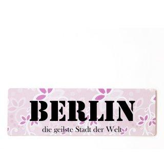 Berlin Dekoschild Türschild rosa zum kleben