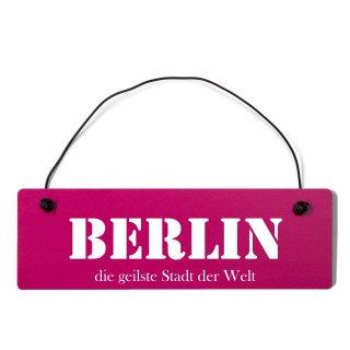 Berlin Dekoschild Türschild pink mit Draht