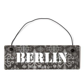 Berlin Dekoschild Türschild lila mit Draht