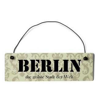 Berlin Dekoschild Türschild beige mit Draht