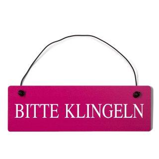 bitte klingeln Dekoschild Türschild pink mit Draht