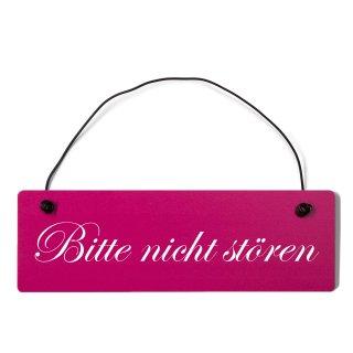 bitte nicht stören Dekoschild Türschild pink mit Draht