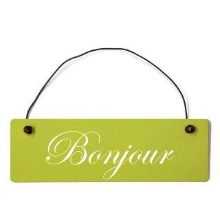 Bonjour Dekoschild Türschild grün mit Draht