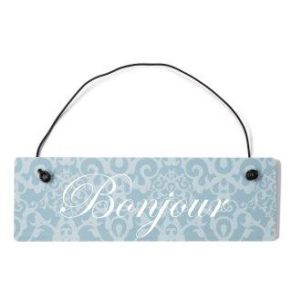 Bonjour Dekoschild Türschild blau mit Draht