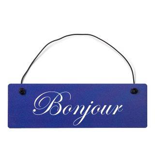 Bonjour Dekoschild Türschild hellblau mit Draht
