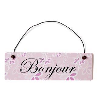 Bonjour Dekoschild Türschild rosa mit Draht
