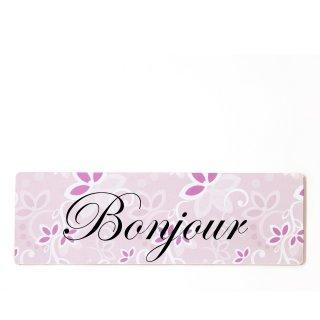 Bonjour Dekoschild Türschild rosa zum kleben