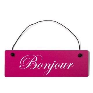 Bonjour Dekoschild Türschild pink mit Draht