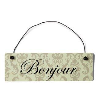 Bonjour Dekoschild Türschild beige mit Draht