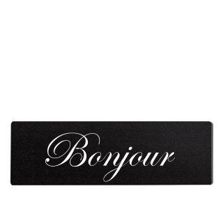 Bonjour Dekoschild Türschild schwarz zum kleben