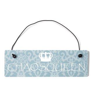 Chaosqueen Dekoschild Türschild blau mit Draht