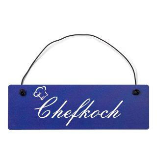 Chefkoch Dekoschild Türschild hellblau mit Draht