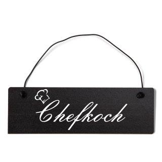 Chefkoch Dekoschild Türschild schwarz mit Draht