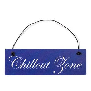 Chillout Zone Dekoschild Türschild hellblau mit Draht