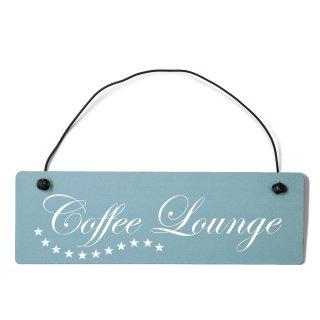 Coffee Lounge Dekoschild Türschild gelb mit Draht