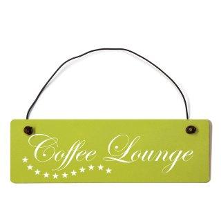 Coffee Lounge Dekoschild Türschild grün mit Draht
