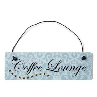 Coffee Lounge Dekoschild Türschild blau mit Draht