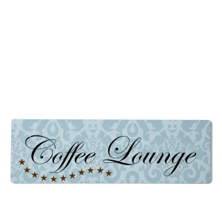 Coffee Lounge Dekoschild Türschild blau zum kleben