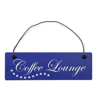 Coffee Lounge Dekoschild Türschild hellblau mit Draht