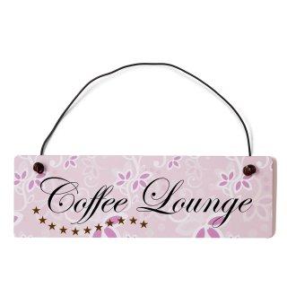 Coffee Lounge Dekoschild Türschild rosa mit Draht