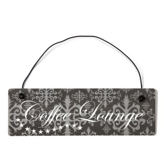 Coffee Lounge Dekoschild Türschild lila mit Draht