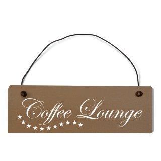 Coffee Lounge Dekoschild Türschild braun mit Draht