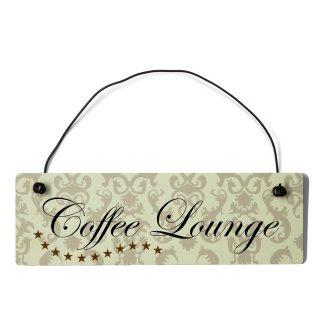 Coffee Lounge Dekoschild Türschild beige mit Draht