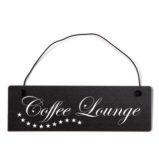 Coffee Lounge Dekoschild Türschild schwarz mit Draht