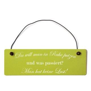 Da will man in ruhe putzen Dekoschild Türschild grün mit Draht