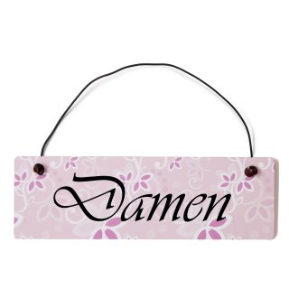 Damen Toilette Dekoschild Türschild rosa mit Draht