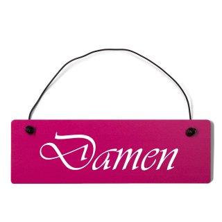 Damen Toilette Dekoschild Türschild pink mit Draht