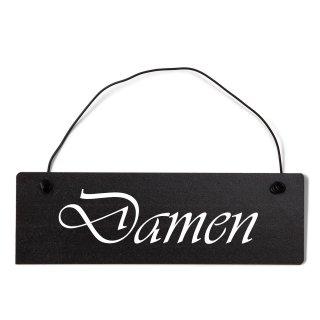 Damen Toilette Dekoschild Türschild schwarz mit Draht