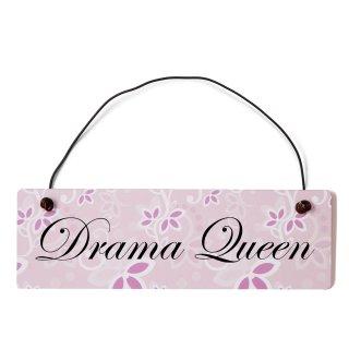 Drama Queen Dekoschild Türschild rosa mit Draht