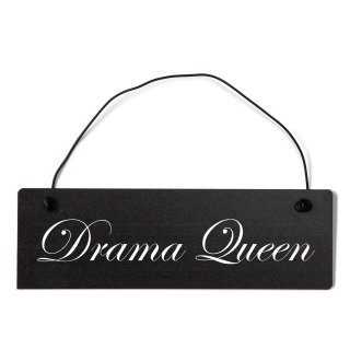 Drama Queen Dekoschild Türschild schwarz mit Draht