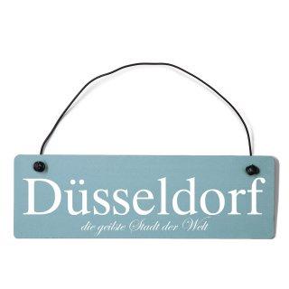 Düsseldorf Dekoschild Türschild gelb mit Draht
