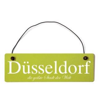 Düsseldorf Dekoschild Türschild grün mit Draht