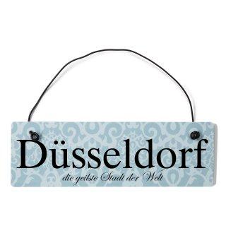 Düsseldorf Dekoschild Türschild blau mit Draht
