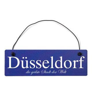 Düsseldorf Dekoschild Türschild hellblau mit Draht
