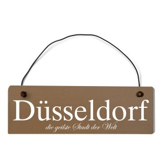 Düsseldorf Dekoschild Türschild braun mit Draht